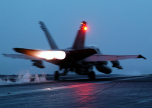 An F/a-18 Hornet Assigned To The  War Party  Of Strike Fighter Squadron Eighty Seven (vfa-87) Launches From The Flight Deck Aboard Uss Theodore Roosevelt (cvn 71). Image