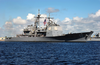 The Guided Missile Cruiser Uss Philippine Sea (cg 58) Departs From Its Homeport Of Mayport, Fla. To Start Work Ups Before Her Upcoming Six-month Deployment Image