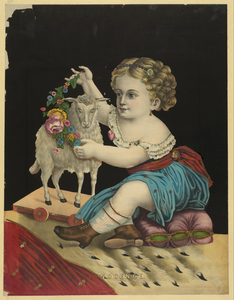 Kid Playing With Sheep Doll Image