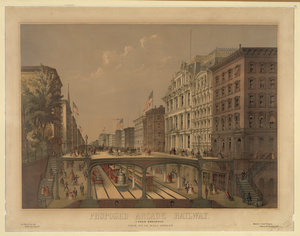 Proposed Arcade Railway--under Broadway, View Near Wall Street  / Ferd. Mayer & Sons, Lith., N.y. ; Melville C. Smith, Projector, N.y. Image