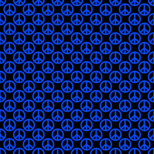 Blue Peace Signs On Black Background Seamless Image