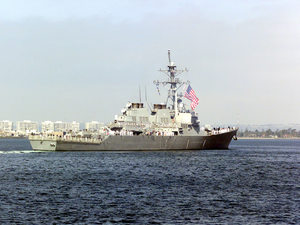 Uss Milius (ddg 69) Manning The Rails. Image