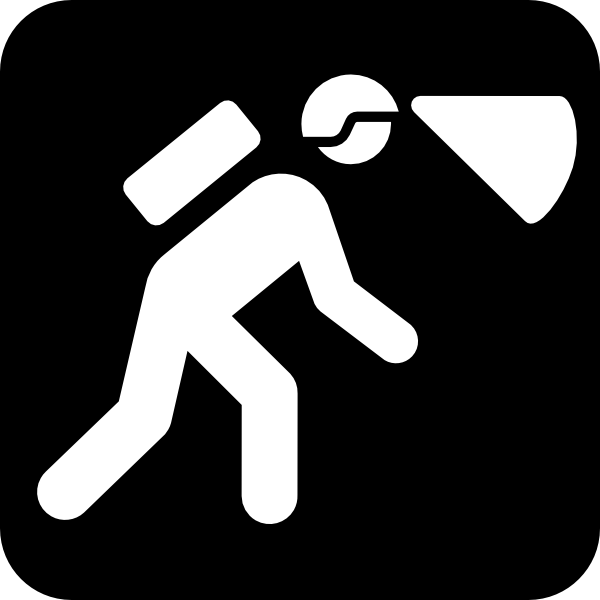 Walking In The Dark With Light In Helmet clip art - vector clip ...