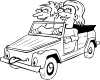 Girl And Boy Driving Car Cartoon Outline Clip Art