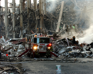 A Lone Fire Engine At The Crime Scene In Manhattan Where The World Trade Center Collapsed Following The Sept. 11 Terrorist Attack. Image