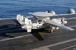 An E-2c Makes A Successful Assisted Landing On The Ship S Flight Deck Image