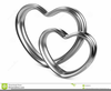 Two Silver Hearts Clipart Image