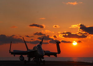 An F/a 18  Hornet  Prepares To Launch From The Flight Deck Of Uss Harry S. Truman (cvn 75) Image