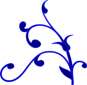 Blue Outline Flower Vine Clip Art