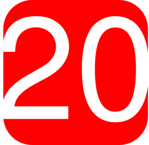 Red, Rounded, Square With Number 20 Clip Art