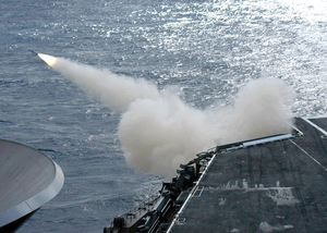 A Rim-7m Nato Sea Sparrow Surface-to-air Missile Is Test Fired Off The Fantail Aboard Uss Washington (cvn 73). Image