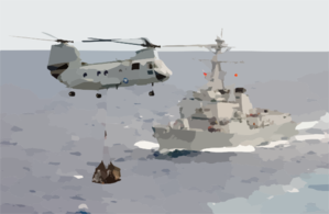 A Ch-46d Conducts A Vertical Replenishment Clip Art