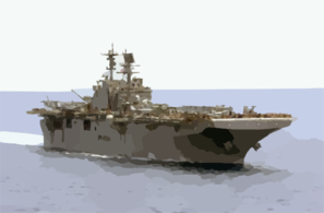 The Amphibious Assault Ship Uss Iwo Jima (lhd 7) Cruises Through The Arabian Gulf Behind Uss Nimitz (cvn 68). Clip Art