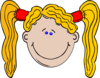Cartoon Girl With Long Yellow Hair Clip Art