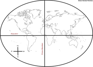 World Map Sketch With Incorrect Compass Rose Clip Art
