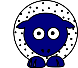 Sheep - White With Black Polka-dots And Blue Feet Clip Art