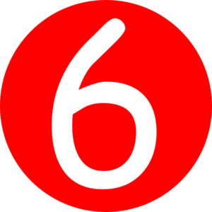 Red, Rounded,with Number 6 Clip Art