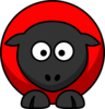 Sheep - Red On Red On Black Clip Art