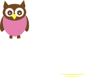 Pink Owl W/ Wings Clip Art