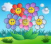 Cutcaster Vector Five Cartoon Flowers On Meadow Image