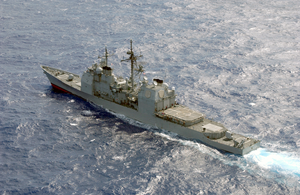 Aerial Photo Of The Guided Missile Cruiser  Antietam, Part Of The Carl Vinson Battle Group Image