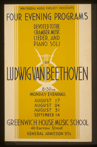 Wpa Federal Music Project Presents Four Evening Programs Devoted To Chamber Music, Lieder, And Piano Soli Of Ludwig Van Beethoven Image
