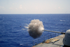 The Destroyer Uss Thorn (dd 988) Fires Her Aft Mk 45 5-inch/54 Caliber Lightweight Gun Mount During Sink Exercise (sinkex) 2003 Off The Coast Of Virginia Image