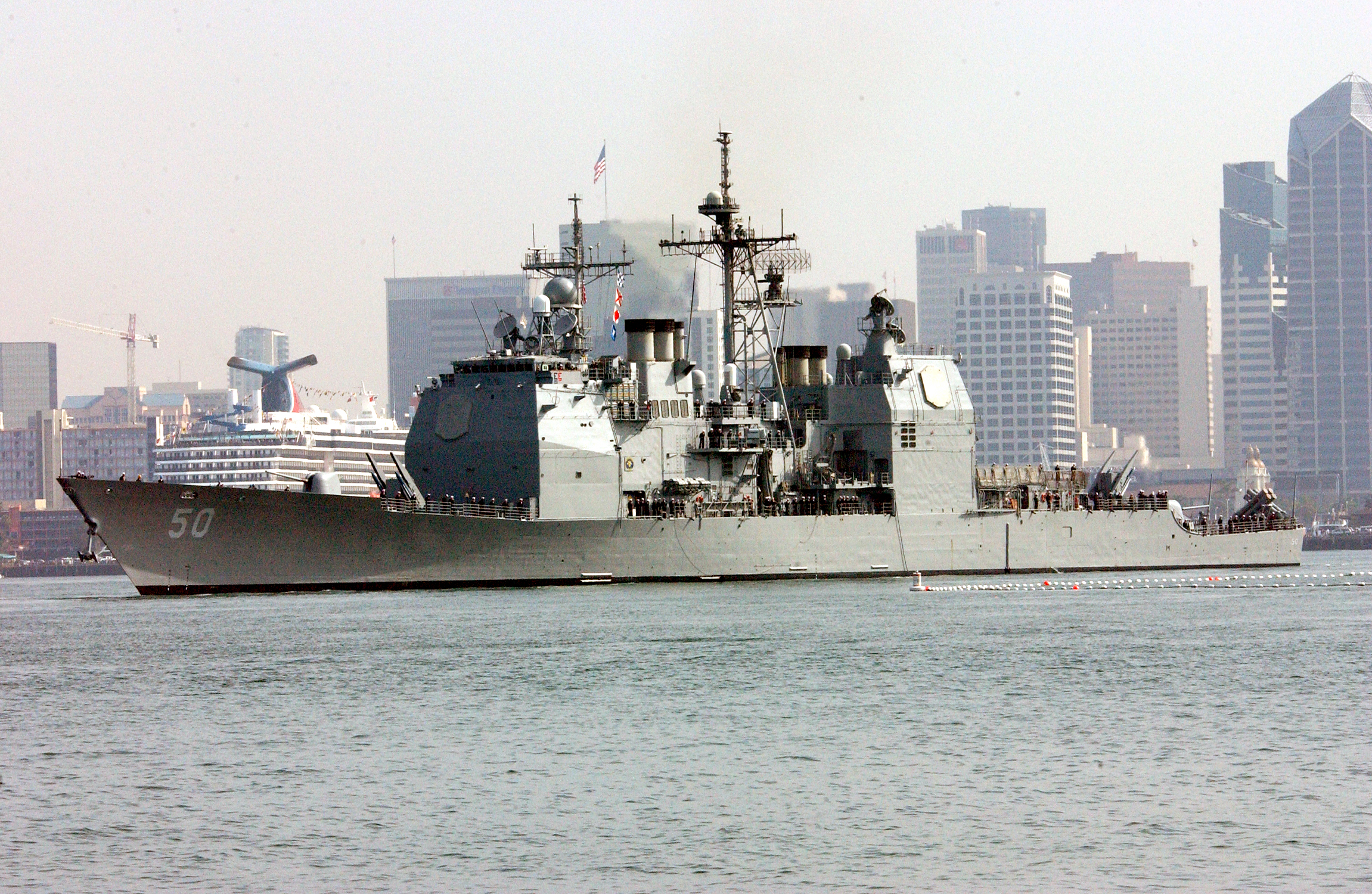 uss valley forge cg 50 passes by the san diego skyline free images at vector. Black Bedroom Furniture Sets. Home Design Ideas