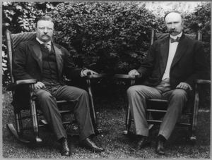 [president Theodore Roosevelt And Vice President Charles Fairbanks, Seated In Rocking Chairs On A Lawn] Image