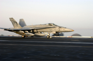 An F/a-18c Assigned To The  Golden Dragons  Of Strike Fighter Squadron One Ninety Two (vfa-192) Launches Off One Of Four Steam-powered Catapults On The Flight Deck Of Uss Kitty Hawk (cv 63). Image