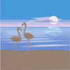 Flamingos On A Beach Clip Art