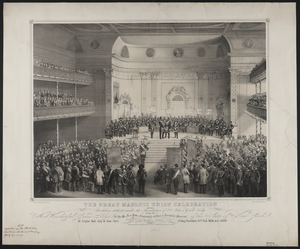The Great Masonic Celebration Of The Brethren Hitherto Under The Jurisdiction Of St. John S Grand Lodge With The Most Worshipful Grand Lodge Of The M.a. & Hon. Fraternity Of Free & Accepted Masons Of The State Of New York, At Tripler Hall, City Of New-york, Friday, December 27th A.d. 1850, A.l. 1850  / Daguerreotyped And Published By J. H. & F. J. Clark, 551 Broadway New -york ; Drawn On Stone By C. G. Crehen ; Print By Nagel & Weingärtner. Image