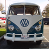 Blue White Vw Bus Straight On Image