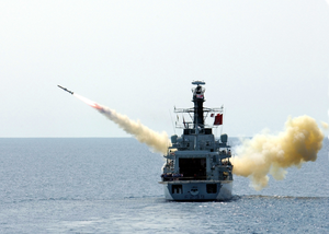 British Frigate Hms Richmond (f-239) Launches An Agm-84a  Harpoon  Missile Image