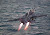 An F-14 Tomcat Assigned To The Checkmates Of Fighter Squadron Two One One (vf-211) Launches From The Flight Deck. Image