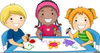 Children Painting Clipart Image