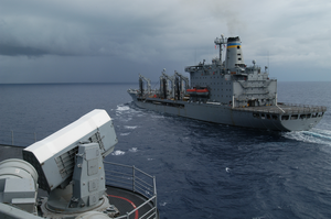 Uss Kitty Hawk (cv 63) Comes Alongside The Military Sealift Command Ship Usns Yukon (t Ao 202) Image