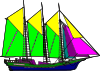 Large Sailing Ship Yellow Purple Clip Art
