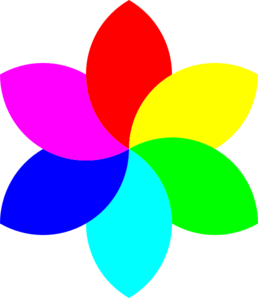 6 Color Football Flower Remix Clip Art