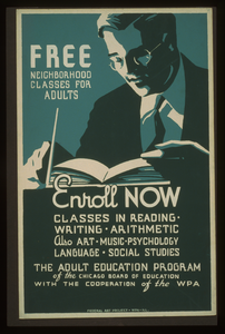 Free Neighborhood Classes For Adults Enroll Now : Classes In Reading - Writing - Arithmetic - Also Art - Music - Psychology - Language - Social Studies. Image