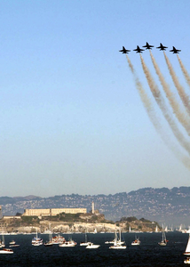 Navy Blue Angels Fly In Formation In Front Of Alcatraz, During San Francisco Fleet Week 2003. Image