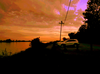 East South Dyke Road At Sunset Posterize Image