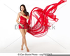 Woman In Red Dress Clipart Image
