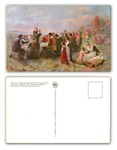 The First Thanksgiving At Plymouth Postcard Image