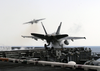 An F/a-18c Hornet From The  Hunters  Of Strike Fighter Squadron Two Zero One (vfa-201) Launches From The Flight Deck Of Uss Theodore Roosevelt (cvn 71) Image