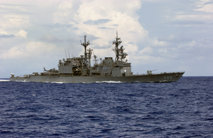 Uss Thorn (dd 988) Sails In The Atlantic Ocean As It Conducts Work Ups Before An Upcoming Scheduled Six-month Deployment. Image