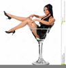 Girl In Martini Glass Clipart Image