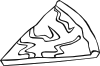 Cheese Pizza Slice (b And W) Clip Art