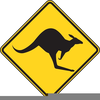 Kangaroo Crossing Sign Clipart Image