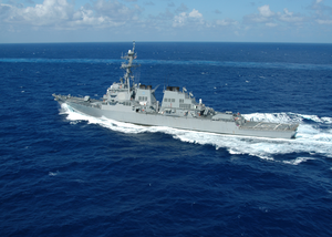 The Guided Missile Destroyer Uss Cole (ddg 67) Underway In The Atlantic Ocean. Image